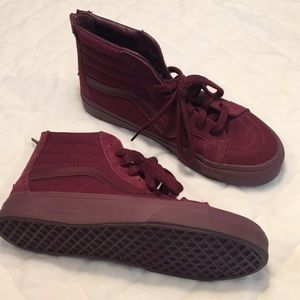 Vans suede canvas maroon hightop skater shoes